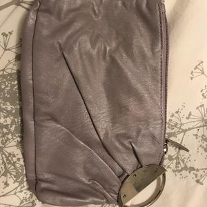 Light lavender wristlet, silver, detachable loop.